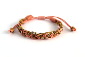 Braided bracelet T145 coral peach