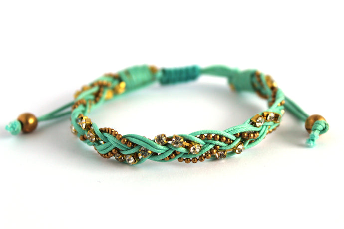 Braided bracelet T145 light teal