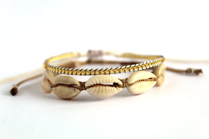 Bracelet 2 pack cowrie shell natural NJS010