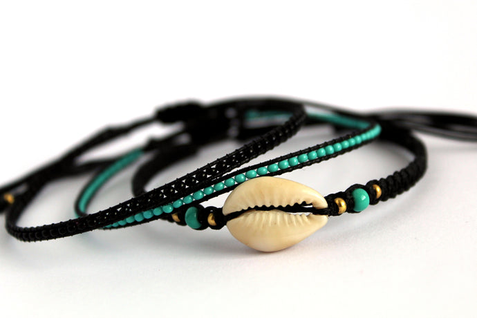 Bracelet 3 pack cowrie and turquoise N13