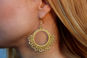 Brass lace earrings NJS335G