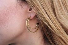 Load image into Gallery viewer, Double hoop brass earrings gold