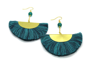 Fan Tassel earrings NAJ teal
