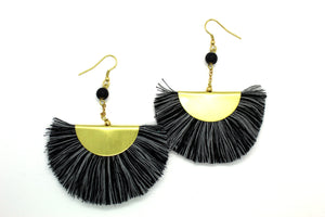Fan Tassel earrings NAJ black