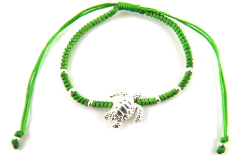 Sr770 green big turtle macrame bracelet