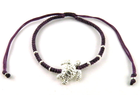 SR770 purple big turtle macrame bracelet