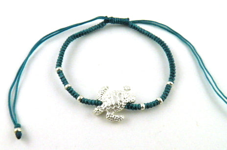 SR770 teal big turtle macrame bracelet