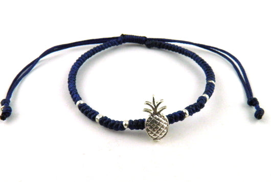 SR771 dark blue pineapple macrame bracelet