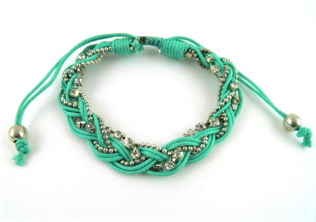 Braid bracelet T145 teal/silver