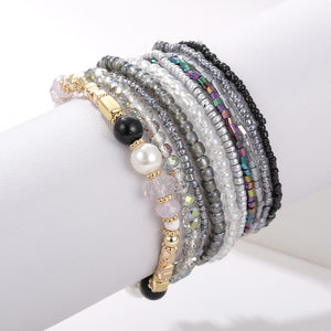 10 pcs/lot Boho Multi-layer Imitation Pearl Crystal Glass Beaded Elastic Bracelets Bangles Set for Women Wedding Party Gifts