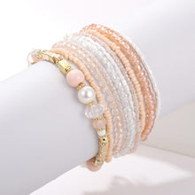 Load image into Gallery viewer, 10 pcs/lot Boho Multi-layer Imitation Pearl Crystal Glass Beaded Elastic Bracelets Bangles Set for Women Wedding Party Gifts