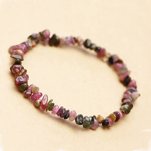 2019 New Arrival Natural Garnet Bracelet Tourmaline Gravel Single Circle Bracelet Lucky Color Crystal Jewelry Gift For Women