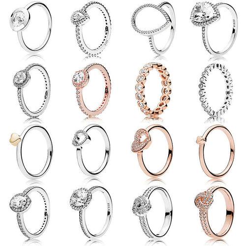 New Fashion For Women 925 Sterling Silver Rings Rose Gold Hollow Love Combination Crystal Finger Ring For Wedding Jewelry Gift