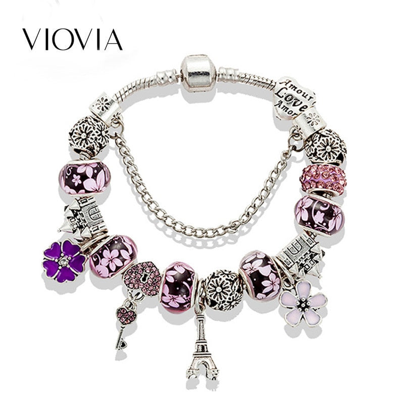AliExpress Hot Selling Eiffel Tower Castle Beaded Bracelet DIY European And American-Style Hot Pandora New Style Bracelet