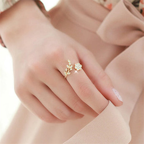 2019 Rose Gold Rings Adjustable Opening For Women Crystal Leaf Flowers Rings For Female Fashion Silver Plated Rings For Ladies