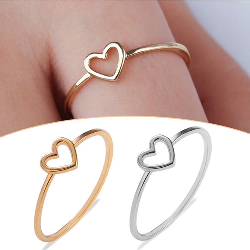 New 1PC Couple Heart Rings Alloy Hollow Out Bride Party Golden Silvery Women Ring Size 6 7 8 9 10 Valentines Gift Accessories