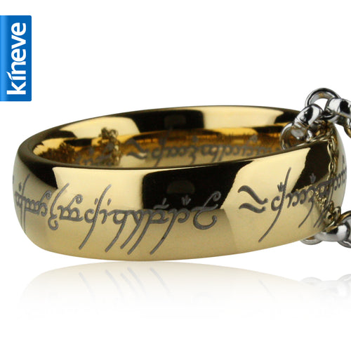 Lord Of The Rings Kineve LOTR Tungsten Carbide Ring Gold Free With Chain Wide Ring Men Engagement Christmas Jewelry Present