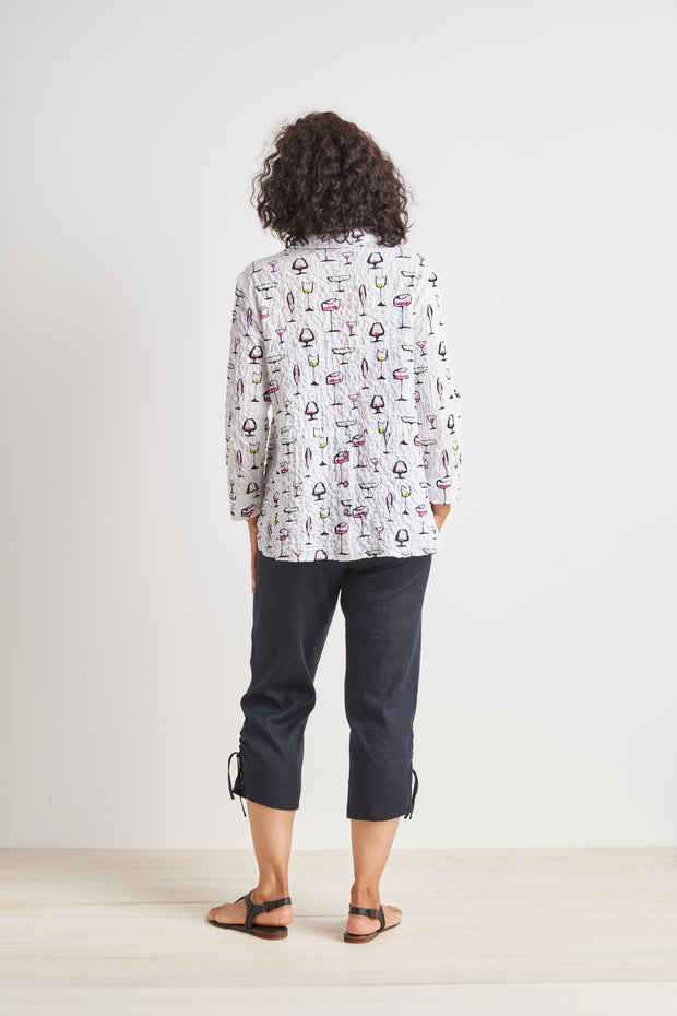 HABITAT CLOTHING SHIRT TAIL TOP WITH COCKTAILS 49619