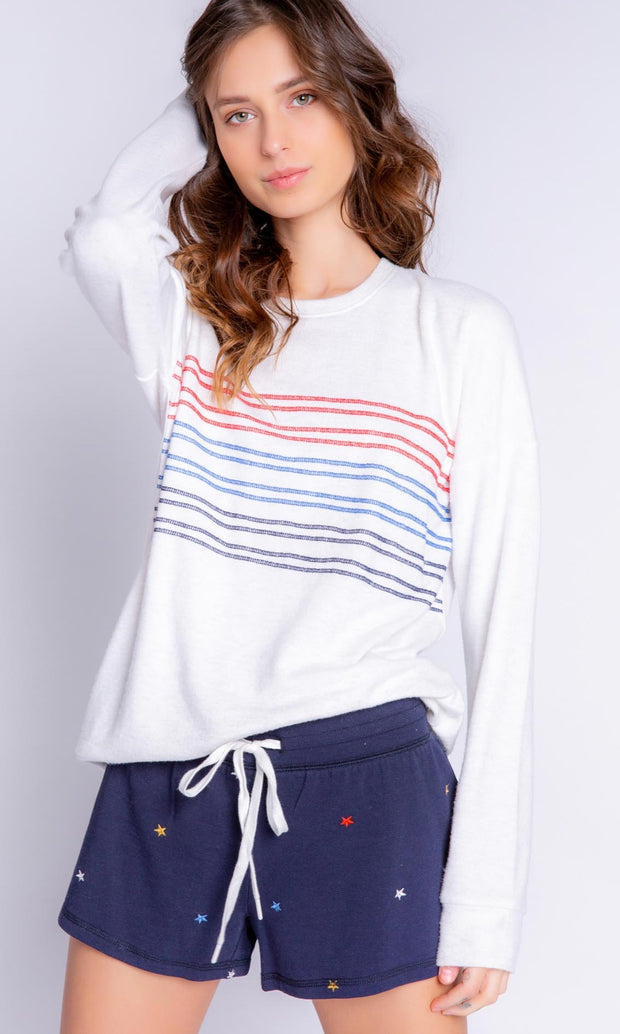 PJ SALVAGE LONG SLEEVE STRIPED PULLOVER TOP RYADLSPJ