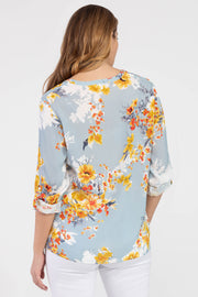 TRIBAL FLORAL BLOUSE PULL OVER WITH TAB SLEEVES 2443 - Atlas Apparel Co.