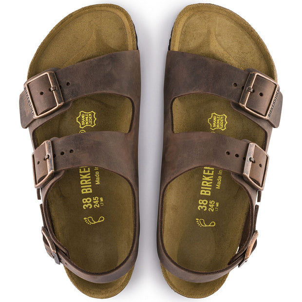BIRKENSTOCK MILANO HABANA OILED LEATHER CLASSIC FOOTBED - Atlas Apparel Co.