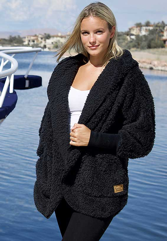 NORDIC BEACH ONE SIZE COZY JACKET WITH POCKETS BLACK - Atlas Apparel Co.