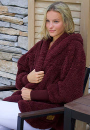 NORDIC BEACH ONE SIZE COZY JACKET WITH POCKETS CHOCOLATE CHERRY - Atlas Apparel Co.