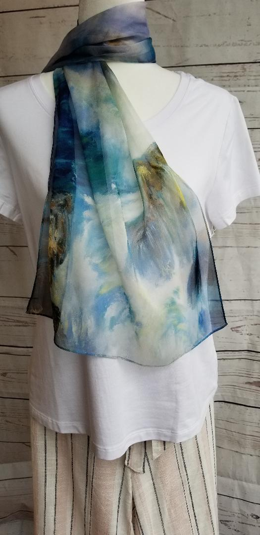 "SILK SCARF PRINTED ""WATERCOLOR"" - Atlas Apparel Co."