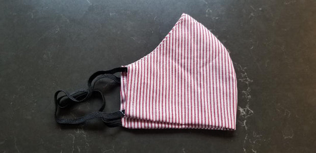 MASK COTTON POPLIN WITH POCKET FOR FILTER RED AND WHITE STRIPES - Atlas Apparel Co.