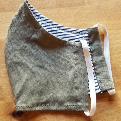 MASK SAGE GREEN REVERSES TO NAVY STRIPE - Atlas Apparel Co.