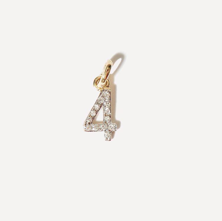 Diamond Number Charm Necklace