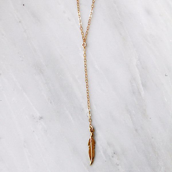 Feather Lariat Necklace - Amarilo - 1
