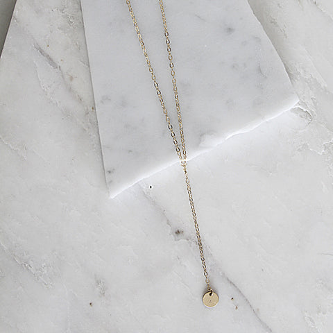 Initial Disc Lariat Necklace