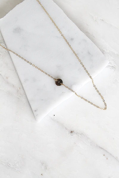 Sideways Initial Disc Necklace - Amarilo - 2