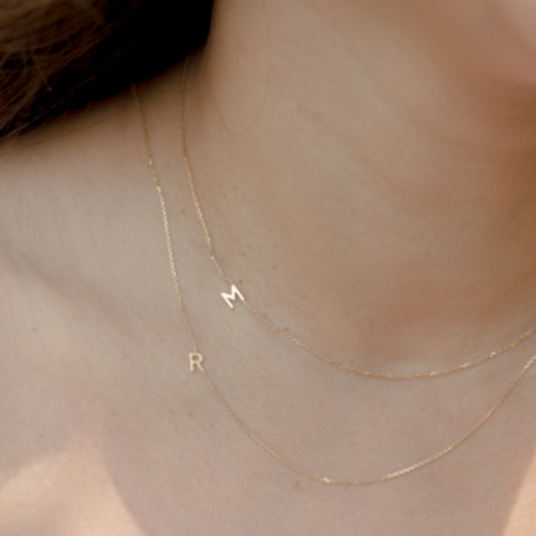 Sideways Initial Necklace