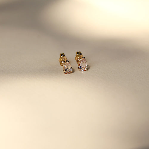 Teardrop Morganite Studs