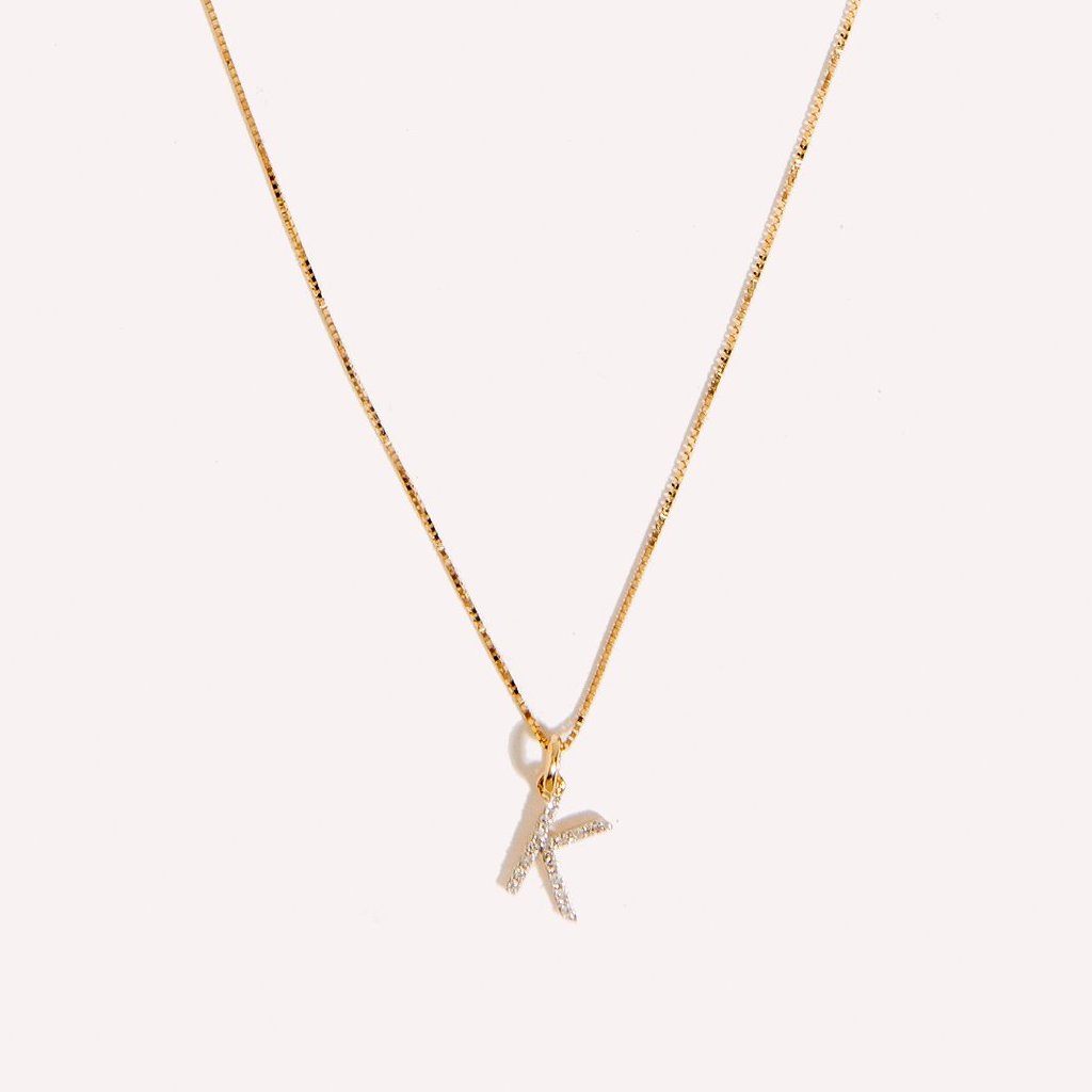 Diamond Initial Charm Necklace