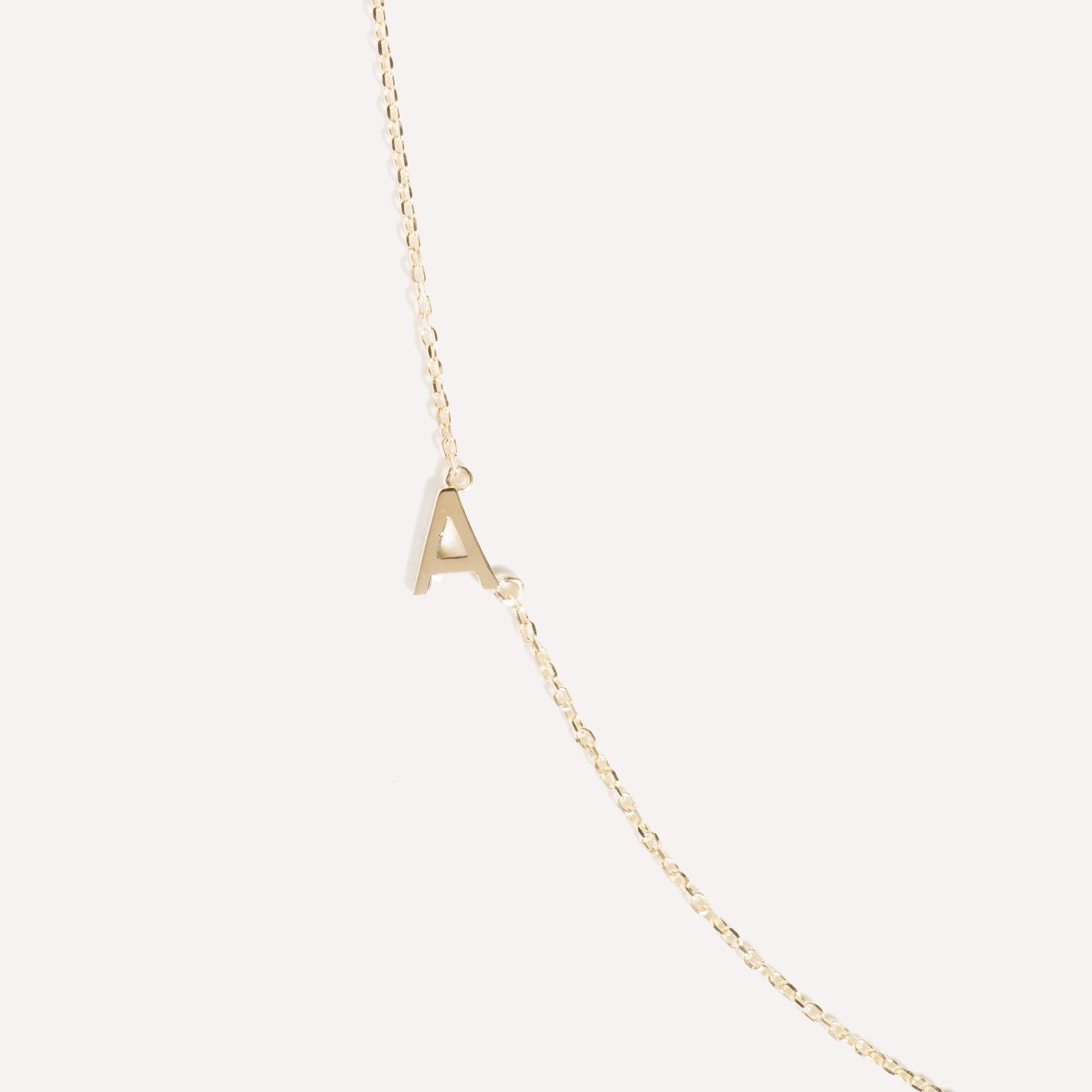 Sideways Double Initial Necklace