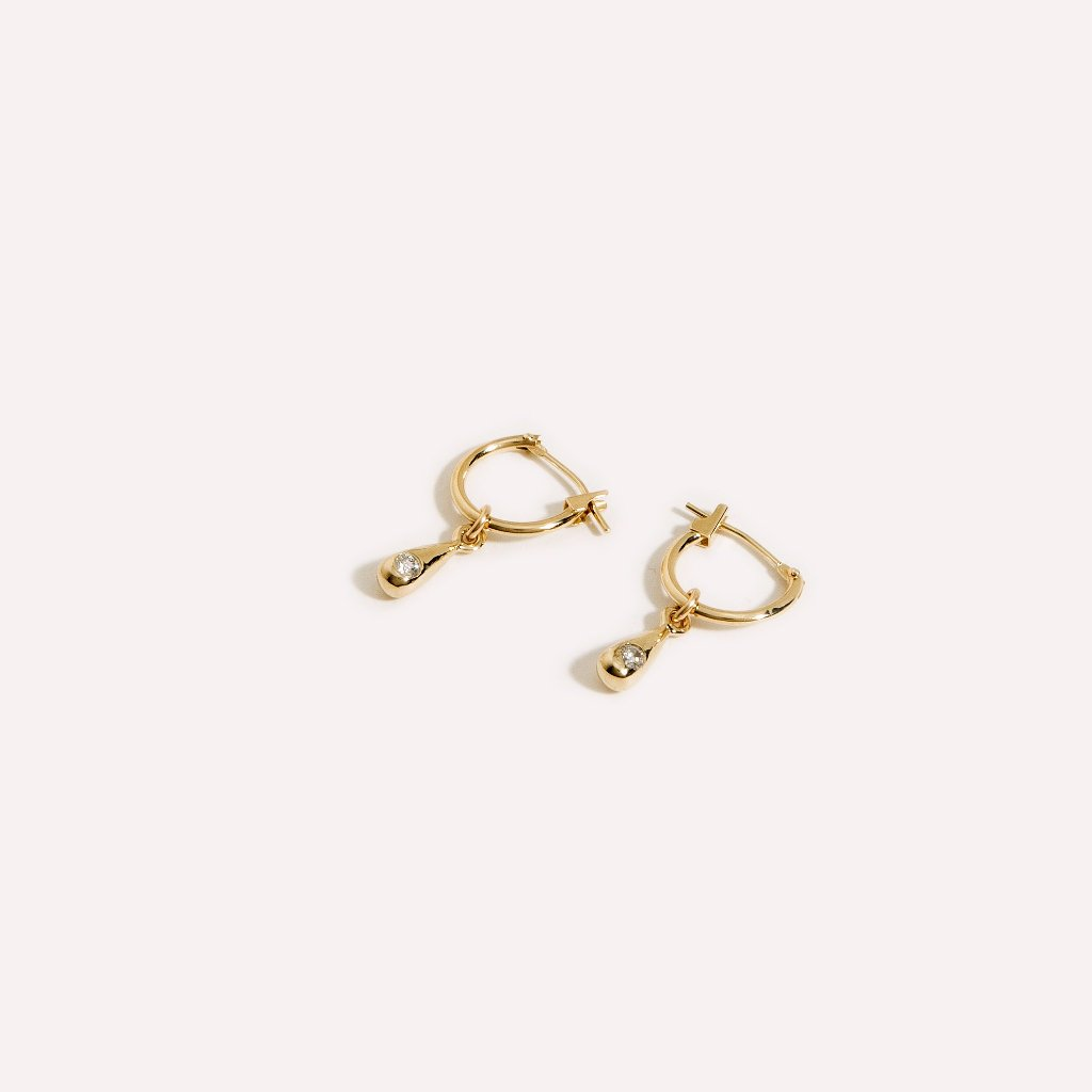 Teardrop Diamond Hoops