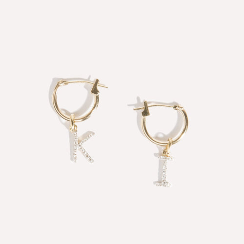 Diamond Initial Charm Earring