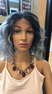 #10 Wavy Ice Blue Bob Lace Front