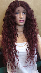 #23 Wavy Burgundy Wine Lace Front
