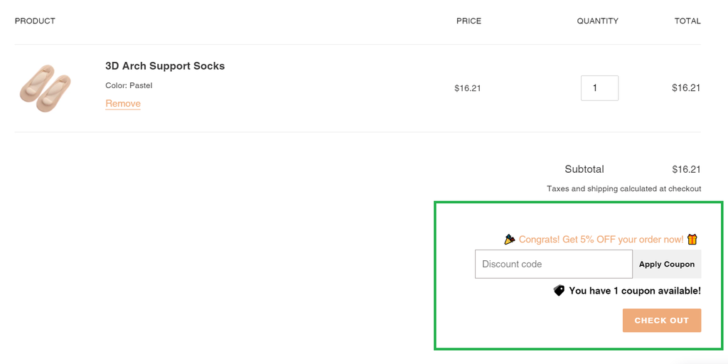 coupon field on Shopify cart page