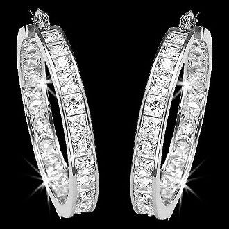 Princess Cut Channel Set Signity Diamond Hoop Earrings 1.25""