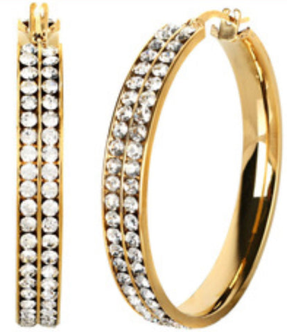 "1.6""  2-Row Pave Crystal Hoop Earrings"