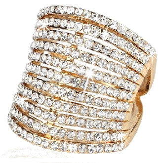11-Row Swarovski Crystal Gold Cocktail Ring