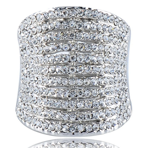 11-Row Swarovski Crystal Cocktail Ring