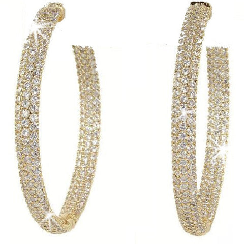 Pave Signity Cz Hoop Earrings/1.7""