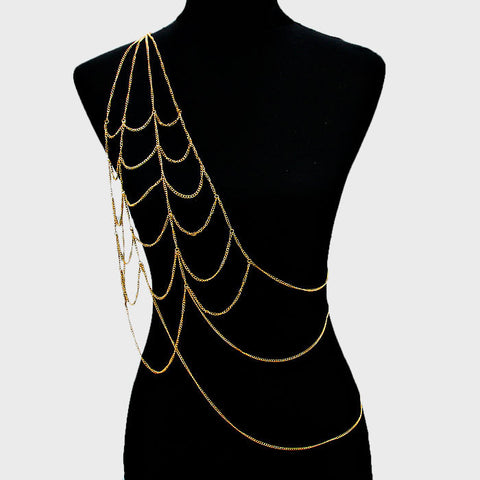 One Shoulder Gold Body Chain Jewelry