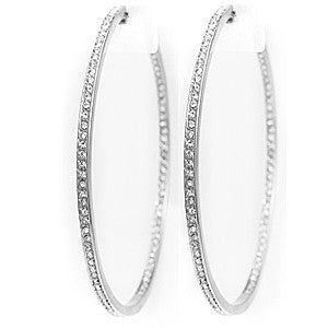 "2.5"" Skinny Cz Diamond Inside Outside Hoop Earrings Silver"